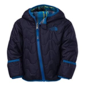 North Face Baby Blue Puffer Plaid Coat Reversible
